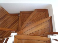 Teak stairs built with teak lumber from St. Angelo Hardwoods